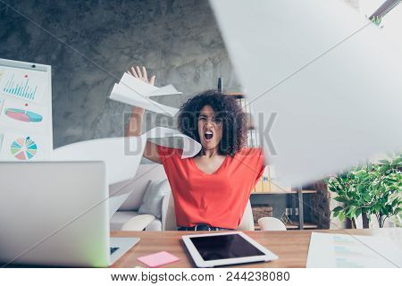 Portrait Of Angry Violent Financier In Casual Outfit Throwing Away Documents Yelling Cruelly Tired F