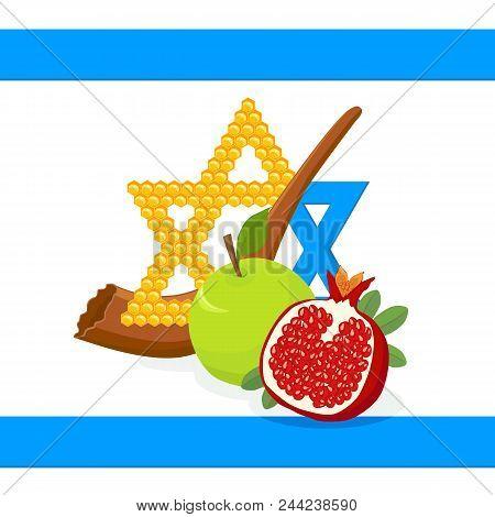 Rosh Hashanah, Jewish New Year, Greeting Card With Star Of David In Honeycomb, Shofar And Holiday Sy