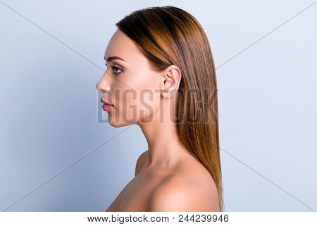 Trend Dermatology Purity Medicine Lotion Ear Rhinoplasty Nose Wellness Concept. Profile Portrait Of