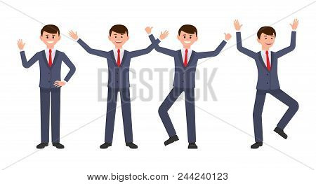 Very Happy Businessman In Dark Blue Suit Cartoon Character. Vector Illustration Of Smart Male Clerk