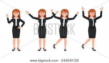 Very Happy Businesswoman In Black Suit Cartoon Character. Vector Illustration Of Smart Female Clerk