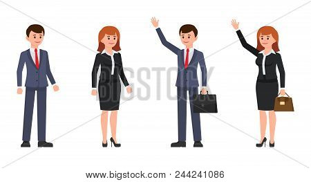 Man And Woman Office Clerks Cartoon Characters. Vector Illustration Of Coworkers With Waving Hands