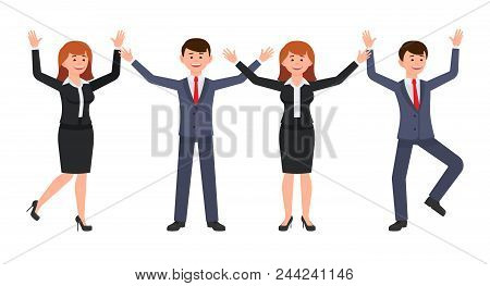 Very Happy Boss Man And Woman Cartoon Character. Vector Illustration Of Smart Male Ans Female Clerk