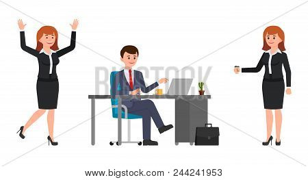 Young Man Sitting At The Desk, Using Laptop. Young Woman Holding Coffee, Happily Laughing. Vector Il