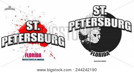 St. Petersburg, Florida, Logo Design. Two In One Vector Arts. Big Logo With Vintage Letters With Nic