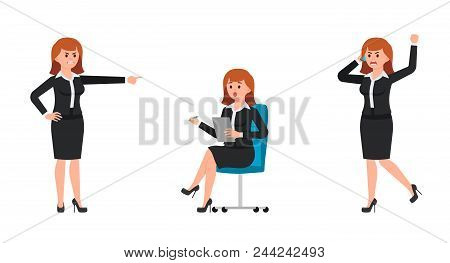 Angry Woman In Black Business Suit Shouting On Smartphone, Pointing Finger. Surprised Woman Sitting