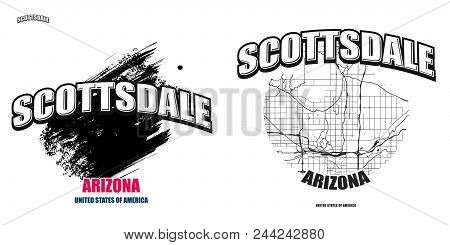 Scottsdale, Arizona, Logo Design. Two In One Vector Arts. Big Logo With Vintage Letters With Nice Co