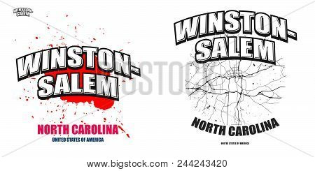 Winston-salem, North Carolina, Logo Design. Two In One Vector Arts. Big Logo With Vintage Letters Wi