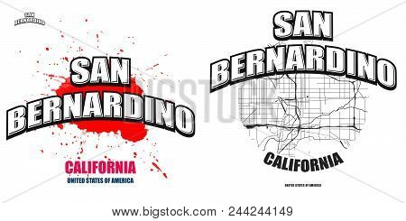 San Bernardino, California, Logo Design. Two In One Vector Arts. Big Logo With Vintage Letters With