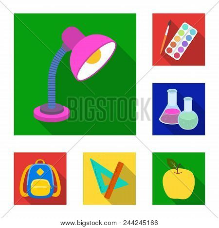 School And Education Flat Icons In Set Collection For Design.college, Equipment And Accessories Vect