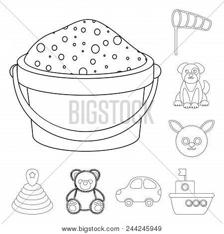 Children Toy Outline Icons In Set Collection For Design. Game And Bauble Vector Symbol Stock Illustr