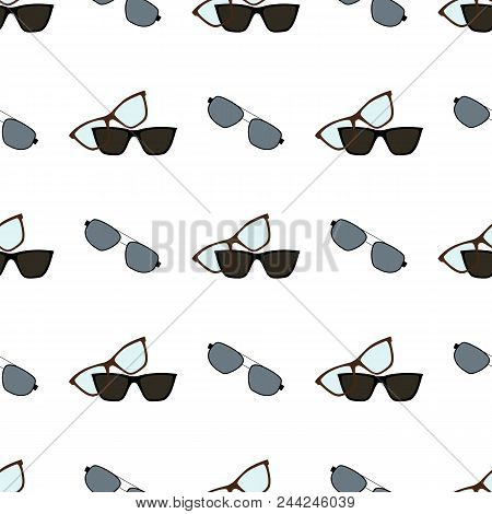 Glasses And Sunglasses, Spectacles And Objects Used For People With Poor Eyesight, Seamless Pattern