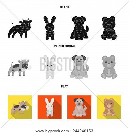 An Unrealistic Black, Flat, Monochrome Animal Icons In Set Collection For Design. Toy Animals Vector