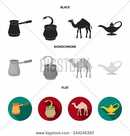 Cezve, Oil Lamp, Camel, Snake In The Basket.arab Emirates Set Collection Icons In Black, Flat, Monoc