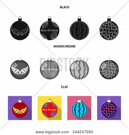 New Year Toys Black, Flat, Monochrome Icons In Set Collection For Design.christmas Balls For A Treev