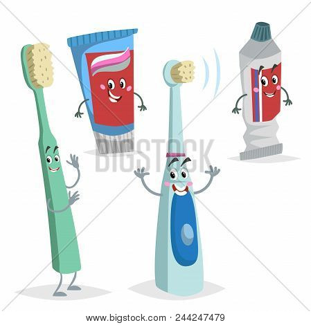 Cartoon Dental Care Characters Set. Comic Toothbrush, Ultrasound Electric Brush, Tooth Paste Tubes.