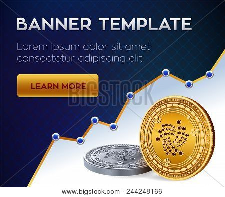 Cryptocurrency Editable Banner Template. Iota. 3d Isometric Physical Bit Coin. Golden And Silver Iot