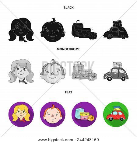 Camping, Woman, Boy, Bag .family Holiday Set Collection Icons In Black, Flat, Monochrome Style Vecto