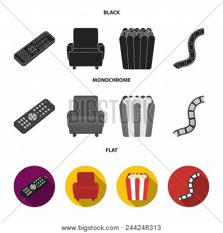 Control Panel, An Armchair For Viewing, Popcorn.films And Movies Set Collection Icons In Black, Flat