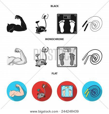 Biceps, Exercise Bike, Scales For Weighing, Skalka. Fitnes Set Collection Icons In Black, Flat, Mono