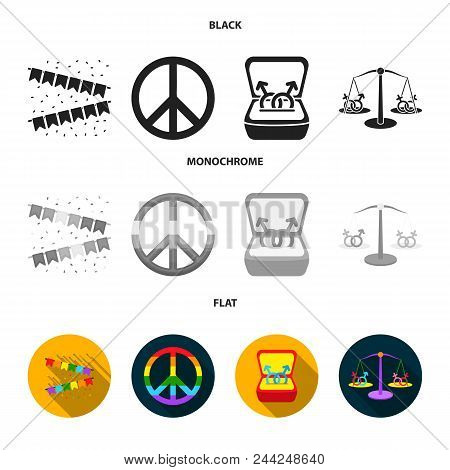 Flags, Rainbow, Emblem, Rings. Gay Set Collection Icons In Black, Flat, Monochrome Style Vector Symb
