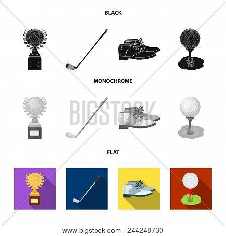Cup, Golf Club, Ball On The Stand, Golfer Shoes.golf Club Set Collection Icons In Black, Flat, Monoc