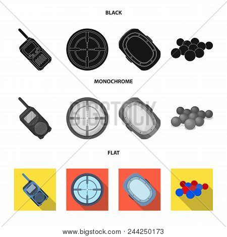Balls With Paint And Other Equipment. Paintball Single Icon In Black, Flat, Monochrome Style Vector