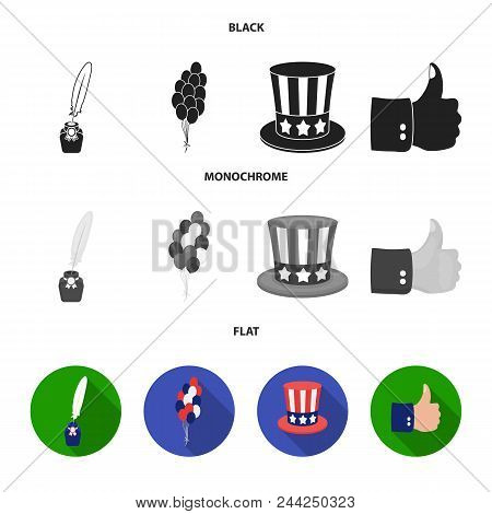 Balloons, Inkwell With A Pen, Uncle Sam Hat. The Patriot Day Set Collection Icons In Black, Flat, Mo