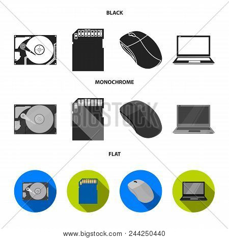 Computer Mouse, Laptop And Other Equipment. Personal Computervset Collection Icons In Black, Flat, M