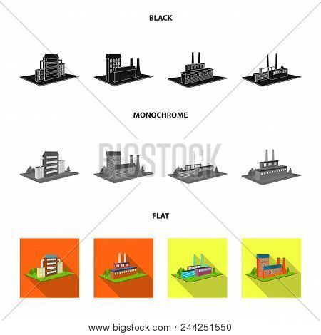 Processing Factory, Metallurgical Plant. Factory And Industry Set Collection Icons In Black, Flat, M