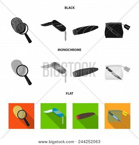 A Fingerprint Study, A Folding Knife, A Cigar Detective, A Crime Weapon Tool In The Package. Crime A