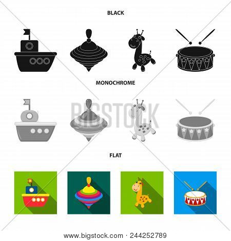 Ship, Yule, Giraffe, Drum.toys Set Collection Icons In Black, Flat, Monochrome Style Vector Symbol S