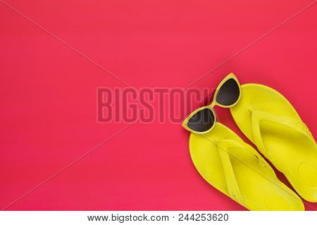 Summer Accessories On Pink Floor. Flat Lay, Top View Vacation Background.