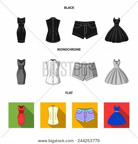 Women Clothing Black, Flat, Monochrome Icons In Set Collection For Design.clothing Varieties And Acc