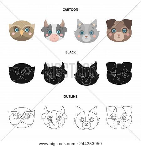 Owl, Cow, Wolf, Dog. Animal Muzzle Set Collection Icons In Cartoon, Black, Outline Style Vector Symb