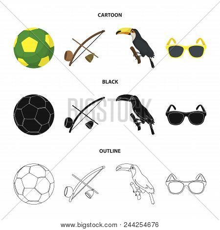 Brazil, Country, Ball, Football . Brazil Country Set Collection Icons In Cartoon, Black, Outline Sty