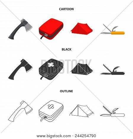 Ax, First-aid Kit, Tourist Tent, Folding Knife. Camping Set Collection Icons In Cartoon, Black, Outl