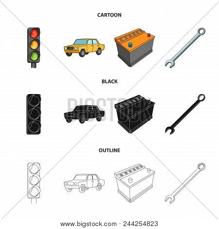 Traffic Light, Old Car, Battery, Wrench, Car Set Collection Icons In Cartoon, Black, Outline Style V