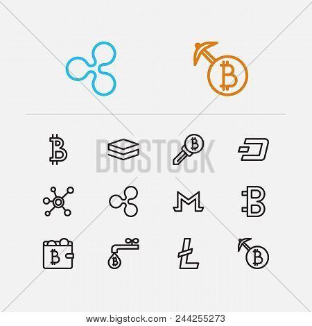 Blockchain Icons Set. Coin Faucet And Blockchain Icons With Dash, Wallet And Keys. Set Of Identity F
