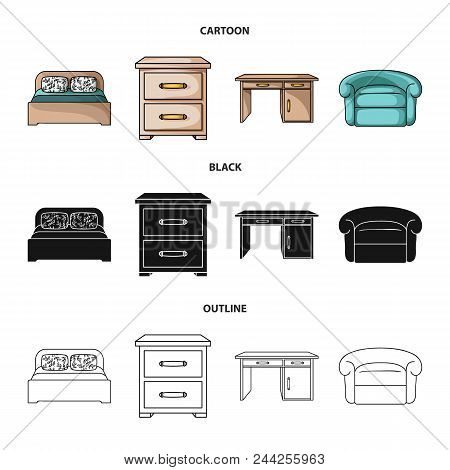 Interior, Design, Bed, Bedroom .furniture And Home Interiorset Collection Icons In Cartoon, Black, O