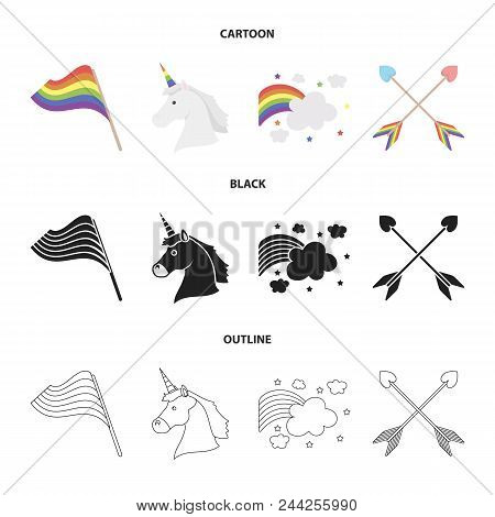 Flag, Unicorn Symbol, Arrows With Heart.gay Set Collection Icons In Cartoon, Black, Outline Style Ve