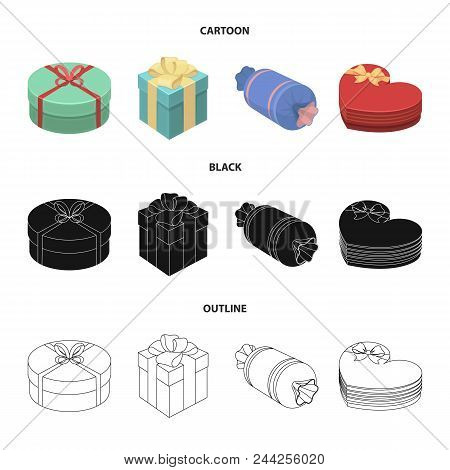 Gift Box With Bow, Gift Bag.gifts And Certificates Set Collection Icons In Cartoon, Black, Outline S