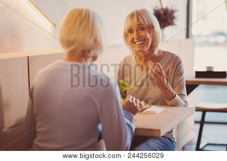 Best Friends Forever. Two Upbeat Elderly Women Sitting At The Table In The Cafe And Chatting While E