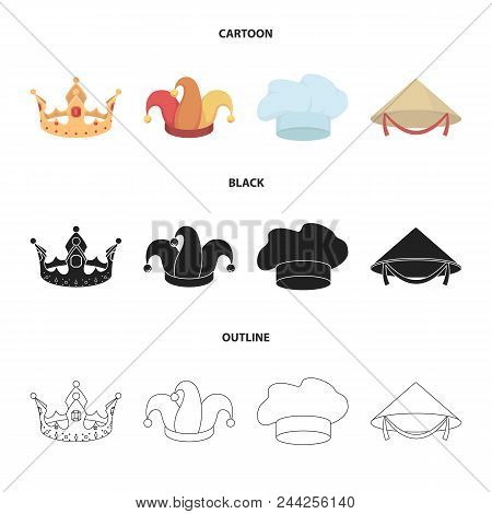 Crown, Jester Cap, Cook, Cone. Hats Set Collection Icons In Cartoon, Black, Outline Style Vector Sym