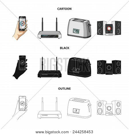 Home Appliances And Equipment Cartoon, Black, Outline Icons In Set Collection For Design.modern Hous