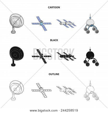 Radio Radar, Docking In Space Spacecraft, Lunokhod. Space Technology Set Collection Icons In Cartoon