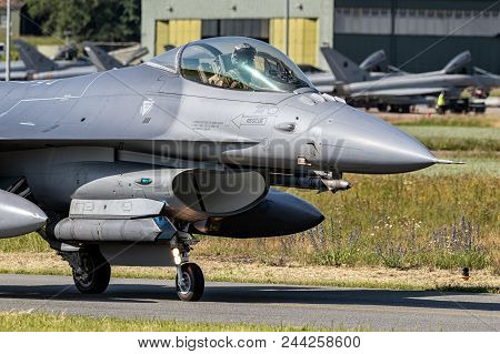 Florennes, Belgium - Jun 15, 2017: Air Force F16 Fighter Jet Aircraft Taxiing Towards The Runway Of