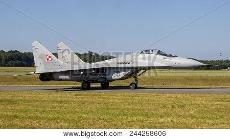 Florennes, Belgium - Jun 15, 2017: Polish Air Force Mig-29 Fulcrum Fighter Jet Aircraft Taxiing Towa