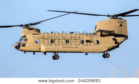 Eindhoven, The Netherlands - Oct 27, 2017: United States Army Boeing Ch-47f Chinook Transport Helico