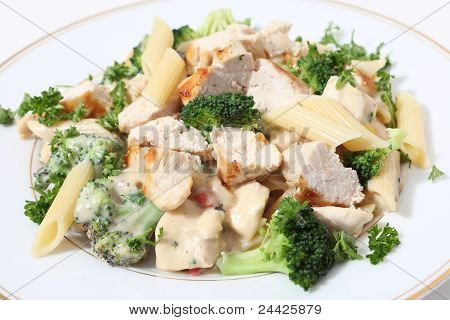 Grilled Chicken Broccoli And Pasta In Sauce